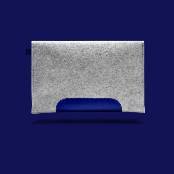 Macbook Air 11 inches. Blue Leather & Light Grey Wool Felt.