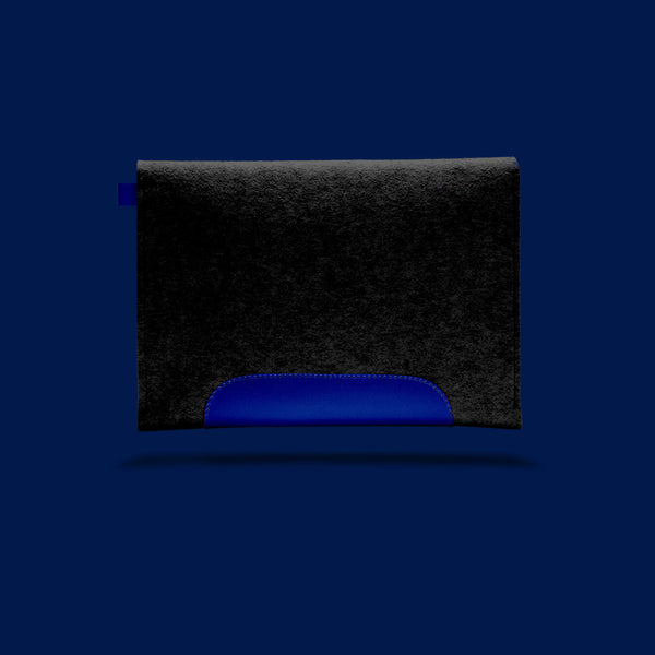 Macbook Air 11 inches. Blue Leather & Black Wool Felt.