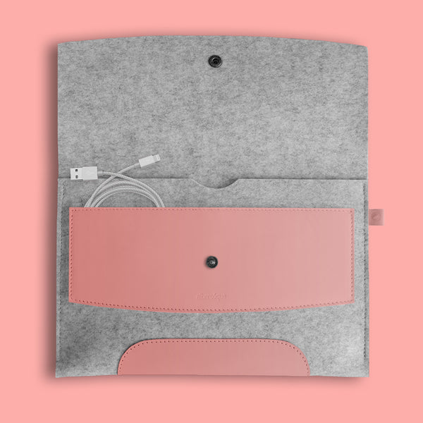 "iPad Pro 9,7"" Rose Pink Leather & Light Grey Wool Felt."