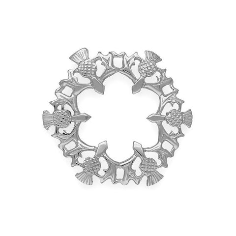 Round Stylised Thistle Brooch in Sterling Sliver