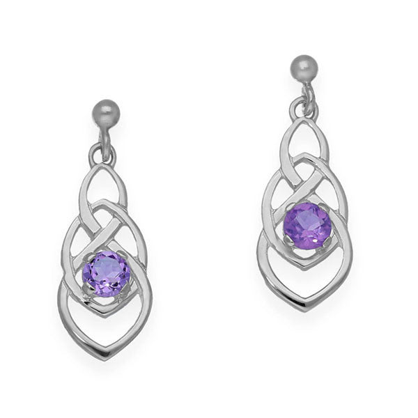 Celtic Knot Work Elegance Drop Earrings with Amethyst