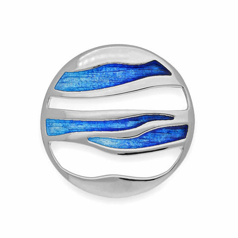 Orbit Enamelled Brooch in Silver
