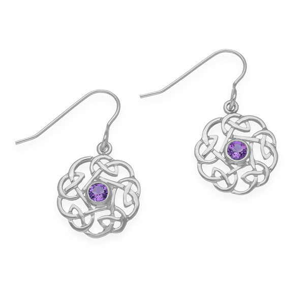 Celtic Knot Work Drop Earrings with Amethyst