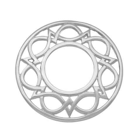 Celtic Interweave Wave Knotwork Brooch in Sterling Silver