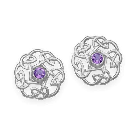 Celtic Knot work Amethyst Stud Earrings in Silver