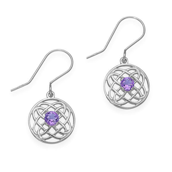Celtic Knot Work Round Drop Earrings with Amethyst