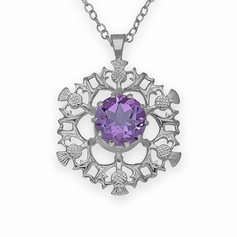 Scottish Six Thistle Pendant in Sterling Silver with Amethyst