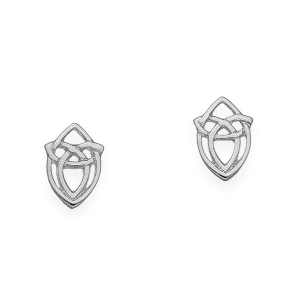 Celtic Trinity Knot Marquise Stud Earrings in Silver