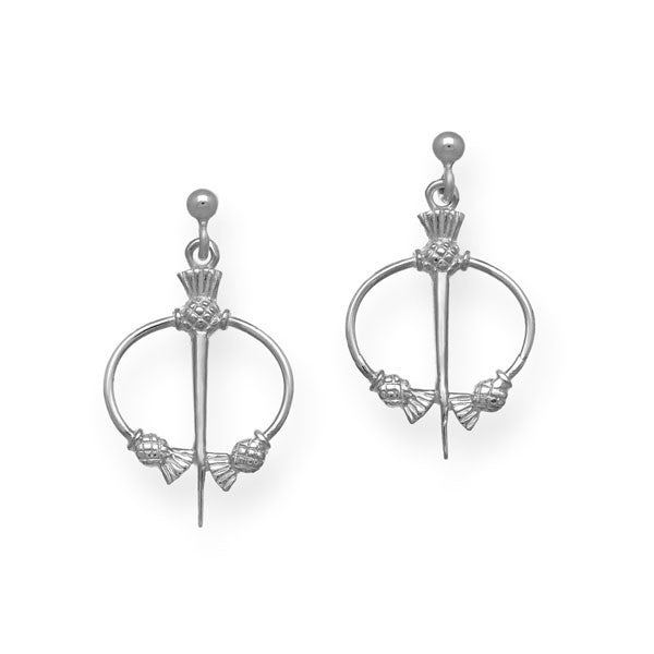 Thistle Torque Earrings in Sterling Silver