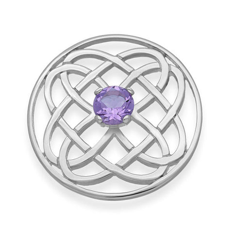 Celtic Knot Work Silver Amethyst Eternal life Round Brooch