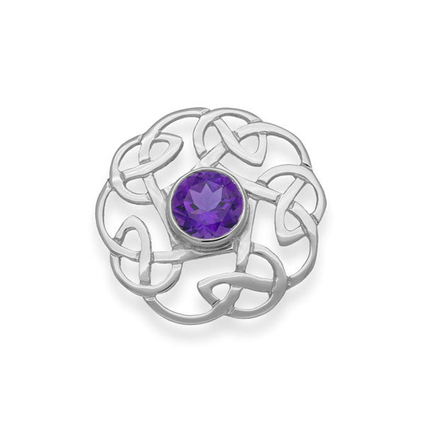 Celtic Knot Work Silver Flow Amethyst Brooch
