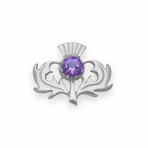 Scottish Thistle Classic Brooch with Amethyst in Silver
