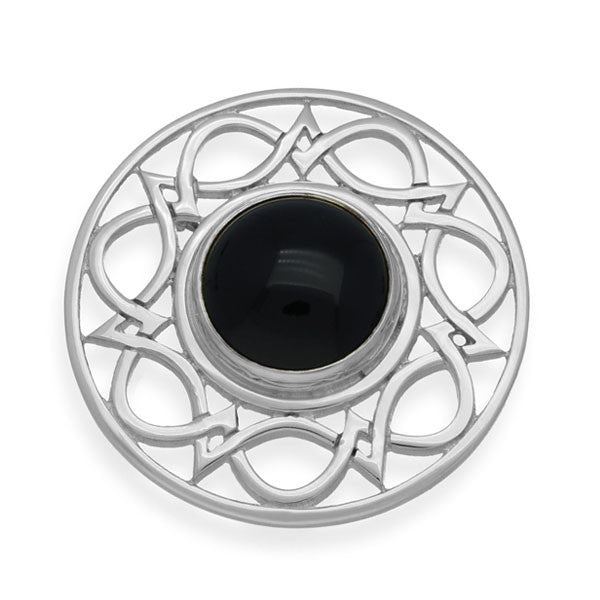 Onyx Celtic Interweave Wave Knotwork Brooch in Sterling Silver