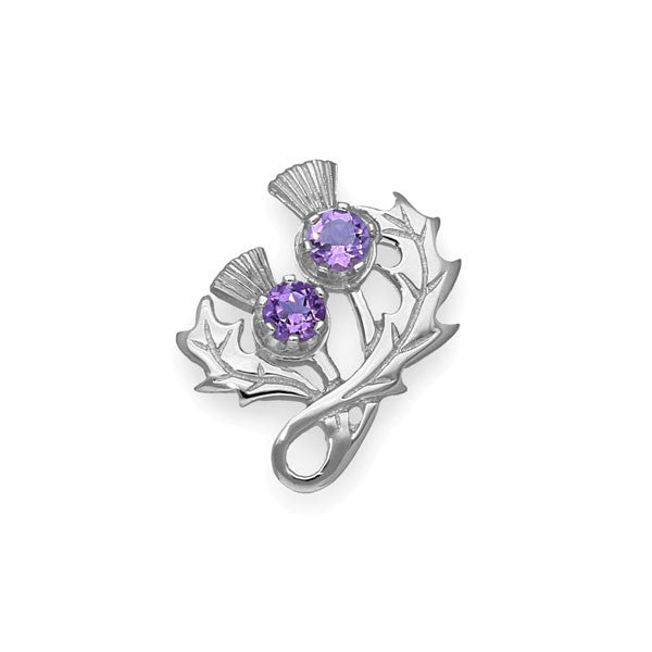 Double Thistle Brooch in Sterling Silver with Amethyst