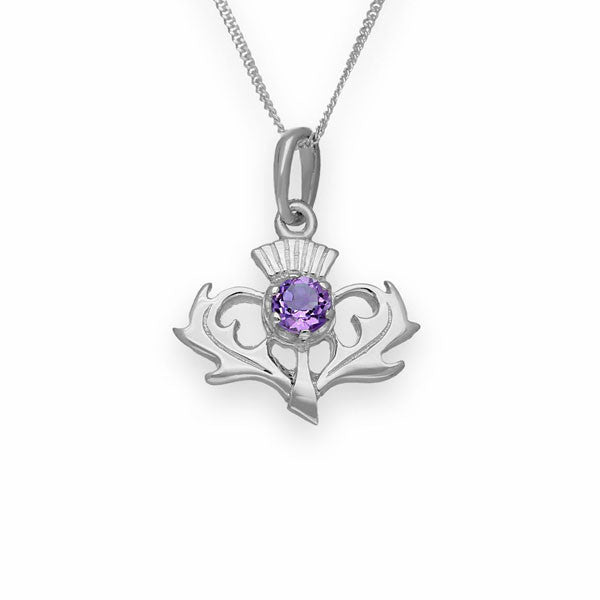 Amethyst Thistle Pendant In Silver