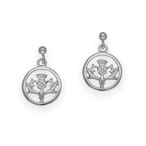 Thistle Drop Earrings In Silver