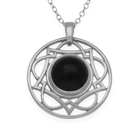 Onyx Celtic Interweave Wave Knotwork Stud Pendant in Sterling Silver