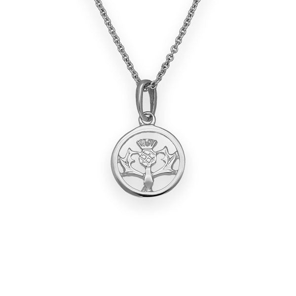Classic Small Round Thistle Pendant in Sterling Silver