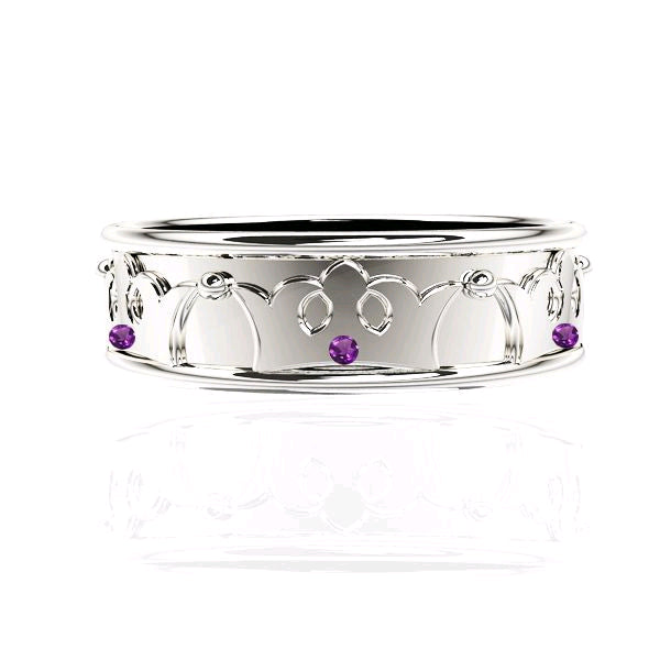 ROYAL EDINBURGH LUCKENBOOTH AMETHYST WHITE GOLD WEDDING RING