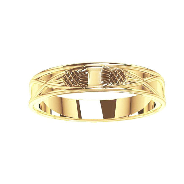 Scottish Thistle Celtic Wedding Ring