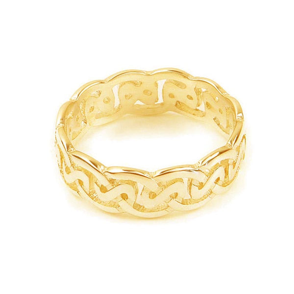 Celtic Loop Wave Knot work Ring in 9ct Yellow Gold