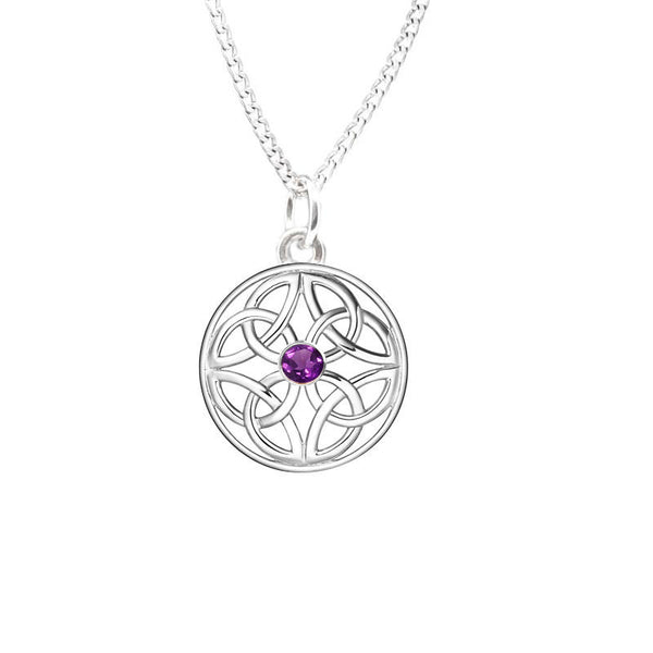 Four Trinity Amethyst Celtic Knot Eternal Round Pendant in silver