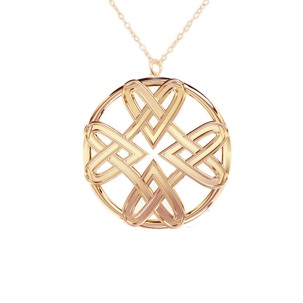 Four Heart Celtic Infinity Pendant in gold