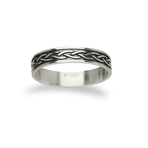 Interwoven Wave Oxidised Celtic Knot work Ring in Silver- 4mm