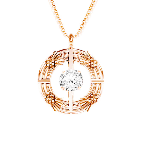 Double Torque Scottish Thistle Round Pendant with CZ in rose gold