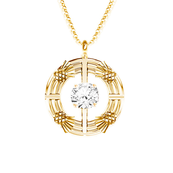 Double Torque Scottish Thistle Round Pendant with CZ in yellow gold