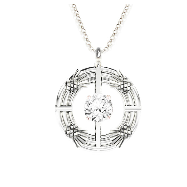 Double Torque Scottish Thistle Round Pendant with CZ in silver