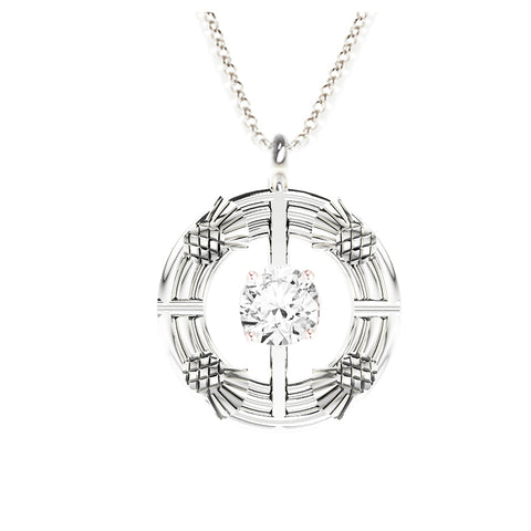 Double Torque Scottish Thistle Round Pendant