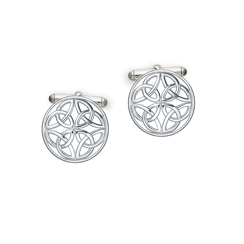 Circular Celtic Knot Cufflinks in Silver