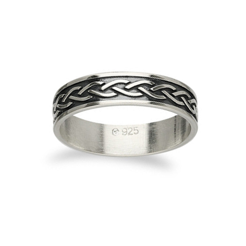 INTERWOVEN WAVE OXIDISED CELTIC KNOT WORK RING IN SILVER- 6MM