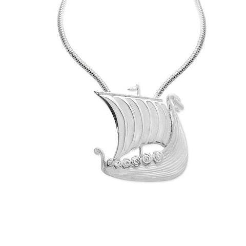 Viking Longship Pendant in Sterling Silver