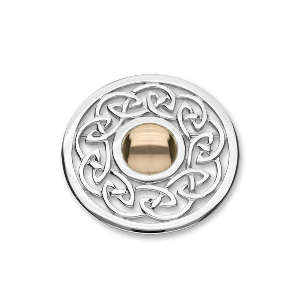Celtic Knot Work Brooch in Silver and Rose Gold Mix