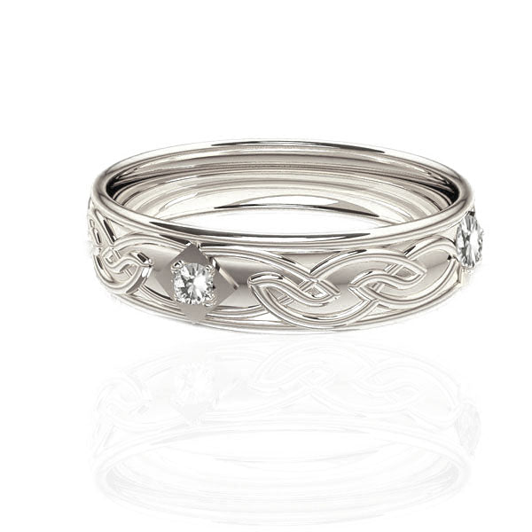 Celtic Flow Diamond Panel Wedding Ring in White Gold