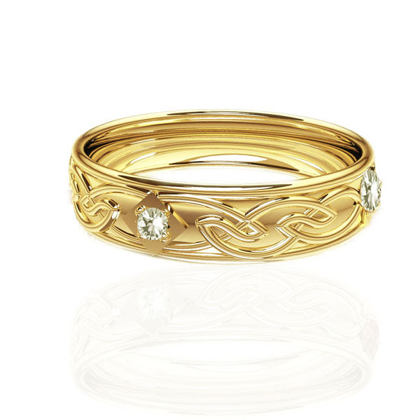 Celtic Flow Diamond Panel Wedding Ring in Yellow Gold