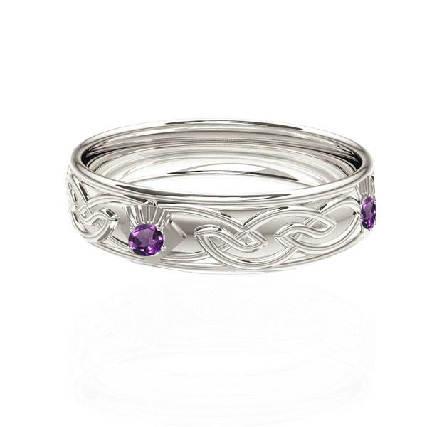Celtic Flow Amethyst Thistle Wedding Ring in White Gold-Tappit Hen Gallery