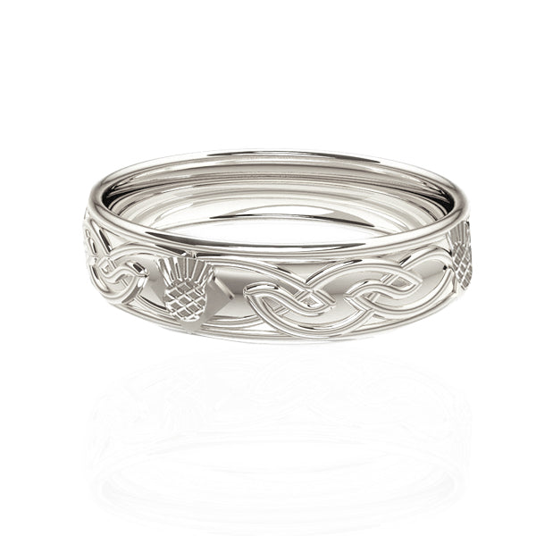 Celtic Flow Scottish Thistle Wedding Ring in White Gold
