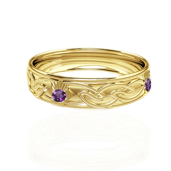 Celtic Flow Amethyst Thistle Wedding Ring in Yellow Gold-Tappit Hen Gallery