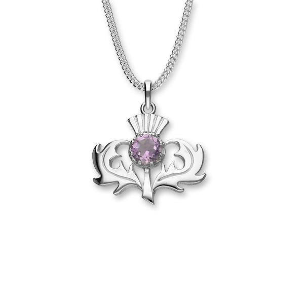 Large Amethyst Thistle Pendant In Silver