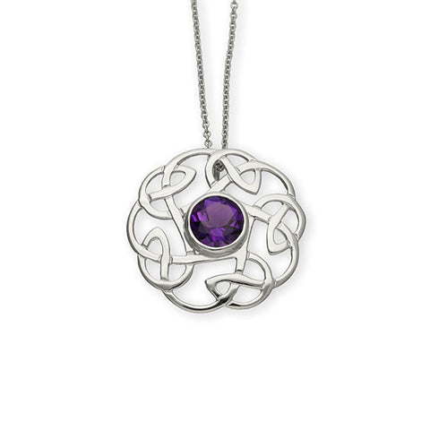 Intricate Celtic Knot Work Round Pendant with Amethyst