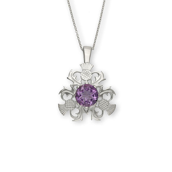 Scottish Tri Thistle Pendant in Sterling Silver with Amethyst