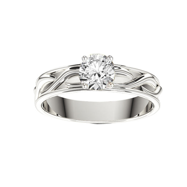 Celtic Twist Solid Engagement Ring in White Gold