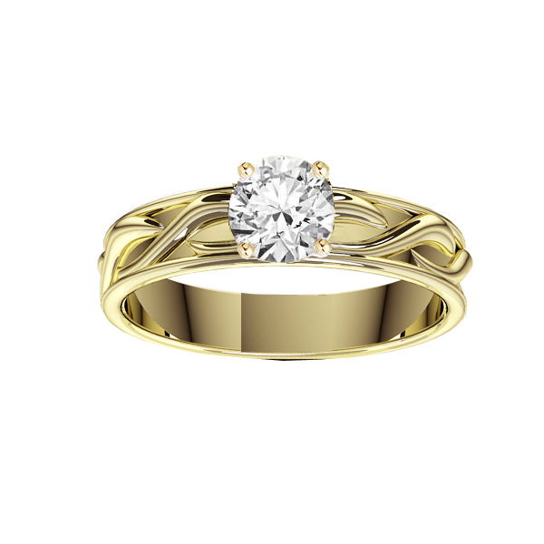 Celtic Twist Solid Engagement Ring in Yellow Gold