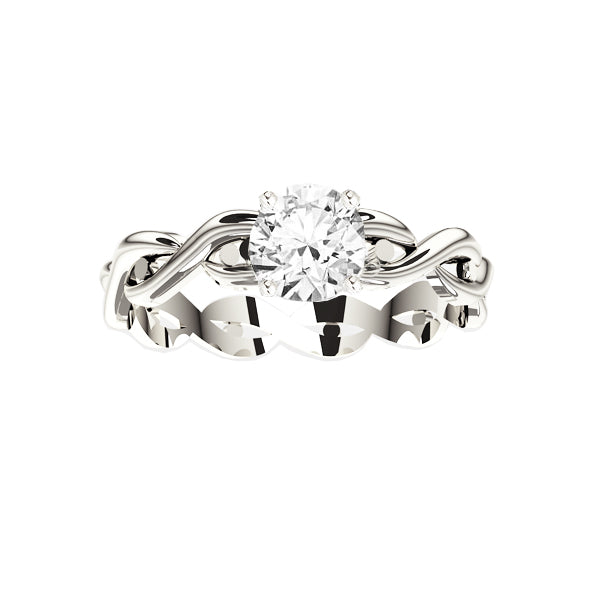 Celtic Twist Engagement Ring in White Gold