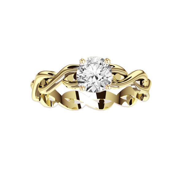 Celtic Twist Engagement Ring in Yellow Gold