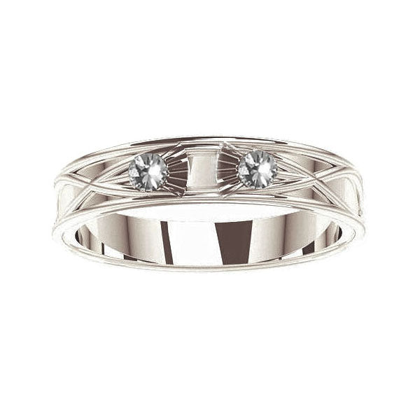 Scottish Thistle Celtic Diamond Wedding Ring in white gold