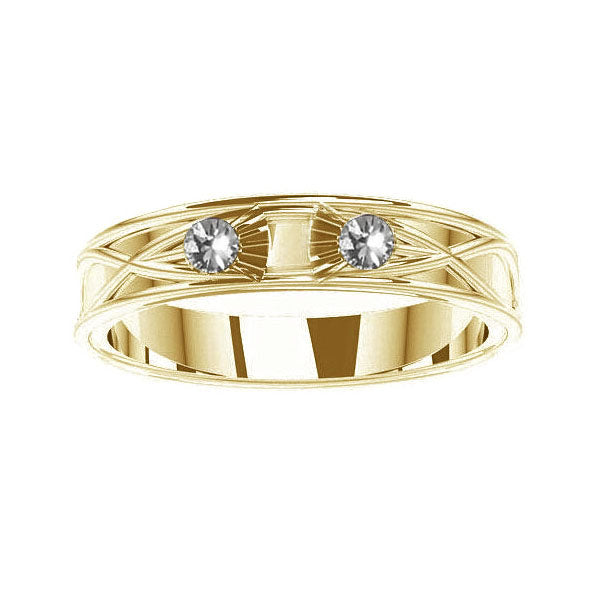 Scottish Thistle Celtic Diamond Wedding Ring in yellow gold